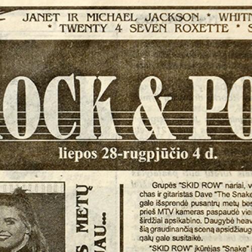 """1994 metų laikraščio """"Ne vien tik rock&pop topai"""""""